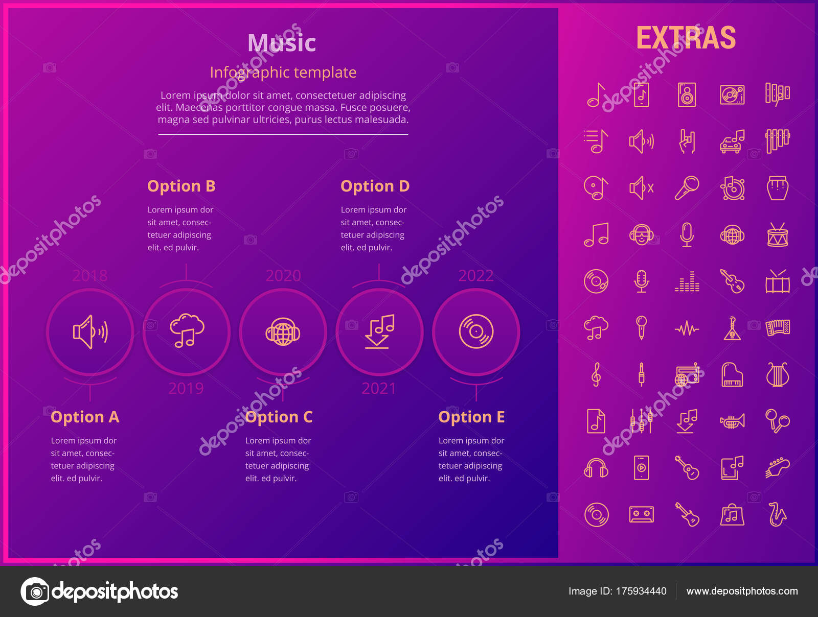 Muzyka Infografikę Szablon Elementy I Ikony Grafika