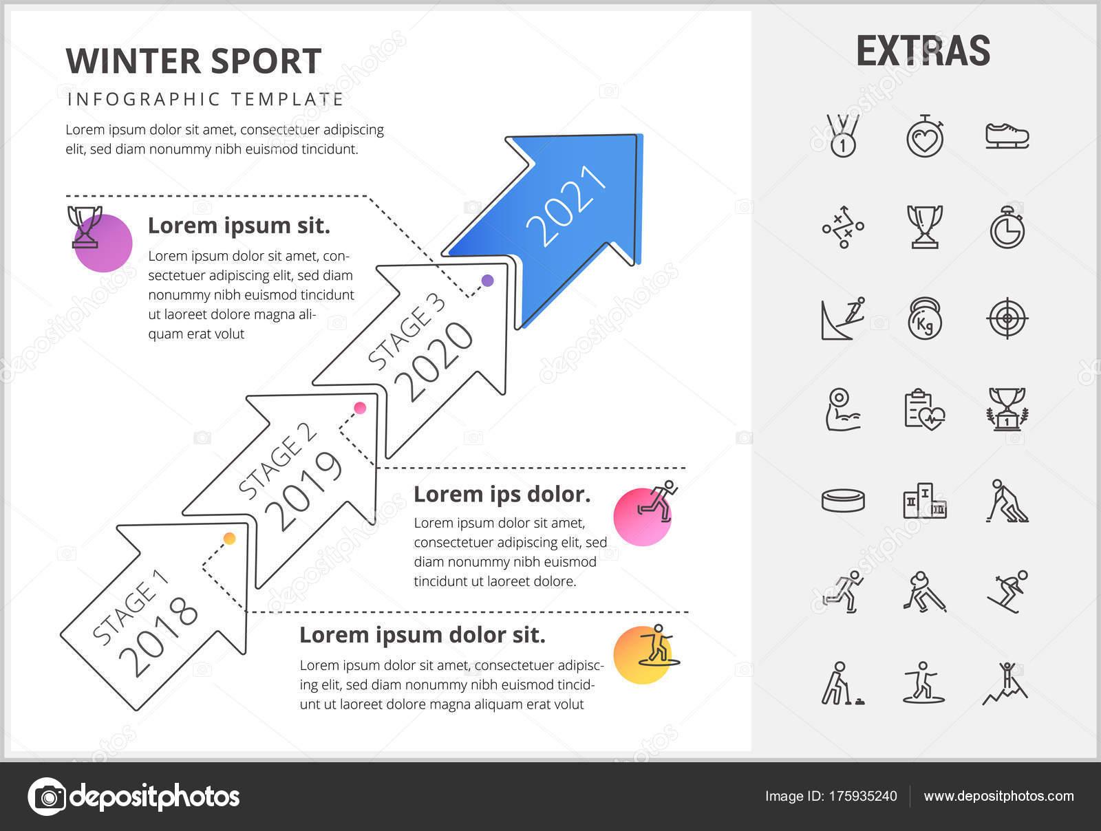Winter Sport Infografik Vorlage, Elemente, Symbole — Stockvektor ...