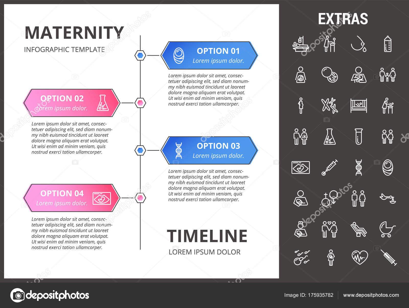 Los iconos, los elementos y maternidad infografía plantilla ...