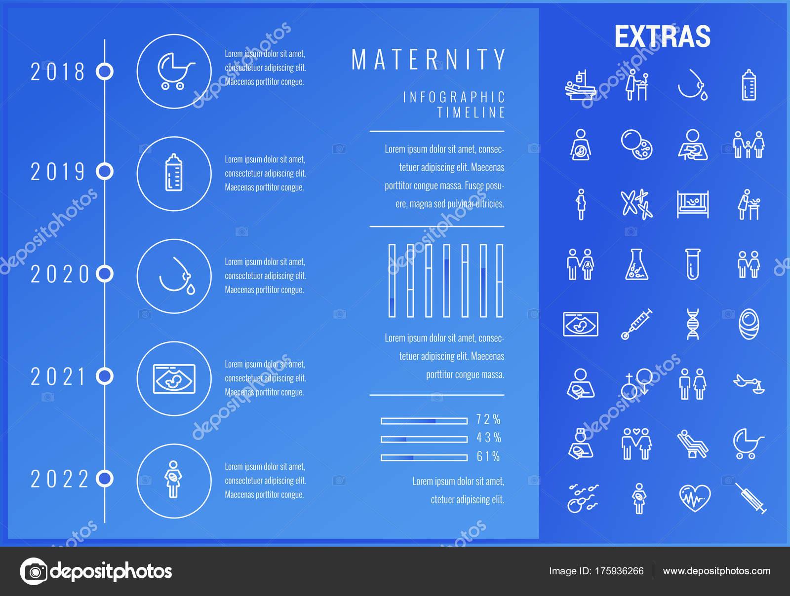 Los iconos, los elementos y maternidad infografía plantilla — Vector ...