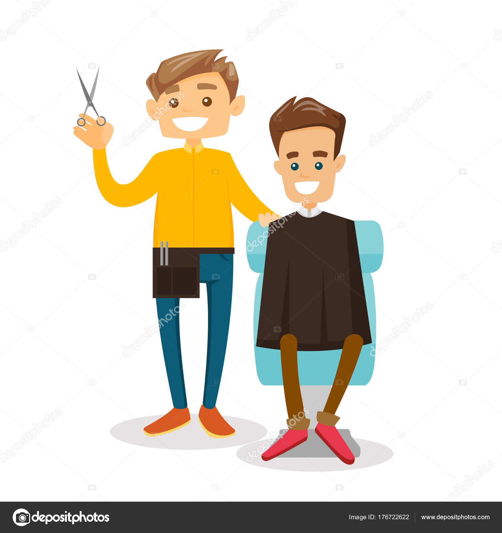 白人床屋散髪をする若い男 ストックベクター Rastudio 176722622