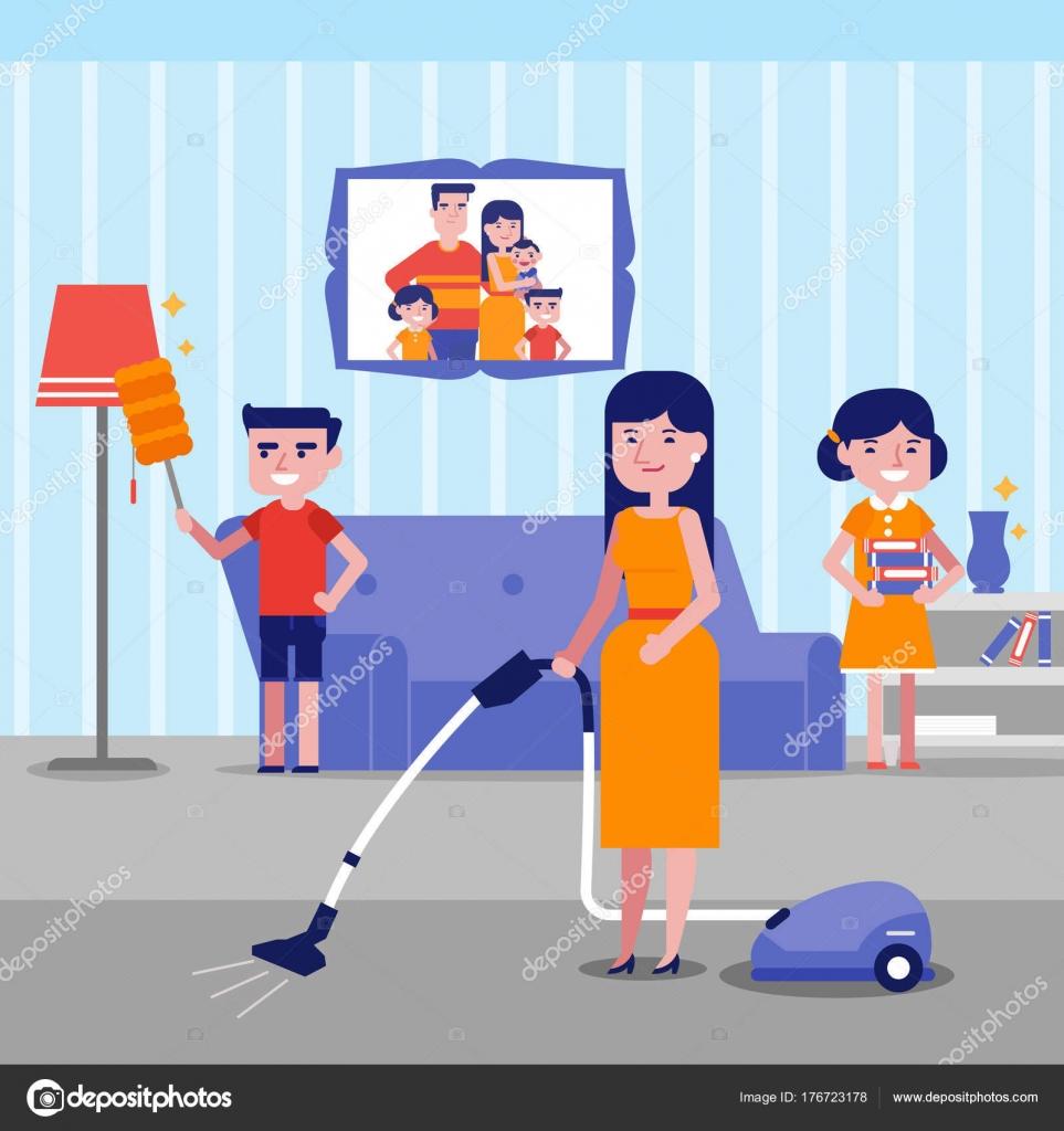 Joven feliz cauc sico blanco limpieza casa de familia - Imagenes de limpieza de casas ...