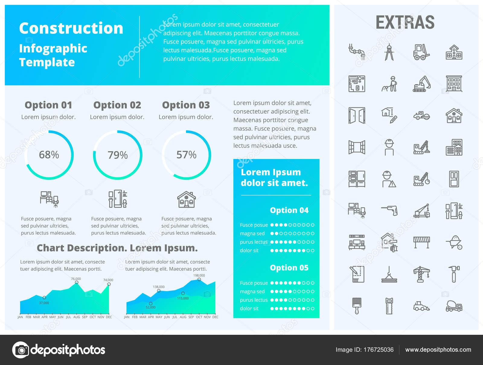 Konstruktion-Infografik-Vorlage und Elemente — Stockvektor ...