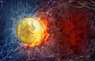 Altın ethereum sikke ateş alev, yıldırım ve su sıçramalarına sabit çatal.