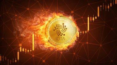 Boğa hisse senedi grafiği ateşle Iota sikke.