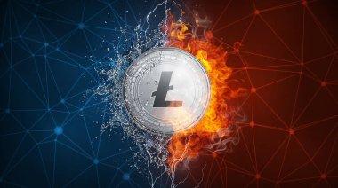 Yangın alev, yıldırım ve su sıçramalarına altın Litecoin para zor çatal.