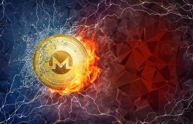 Yangın alev, yıldırım ve su sıçramalarına altın Monero para zor çatal.