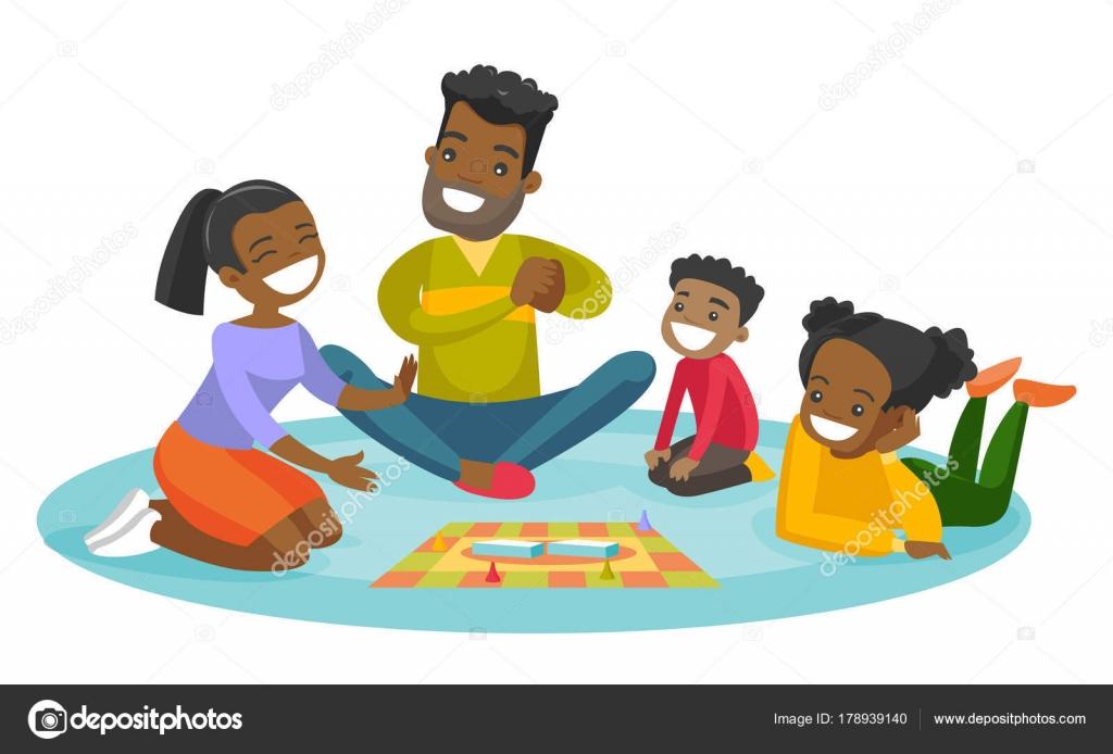 Dibujos Dibujo Juegos De Mesa Familia Afro Americana Jugando