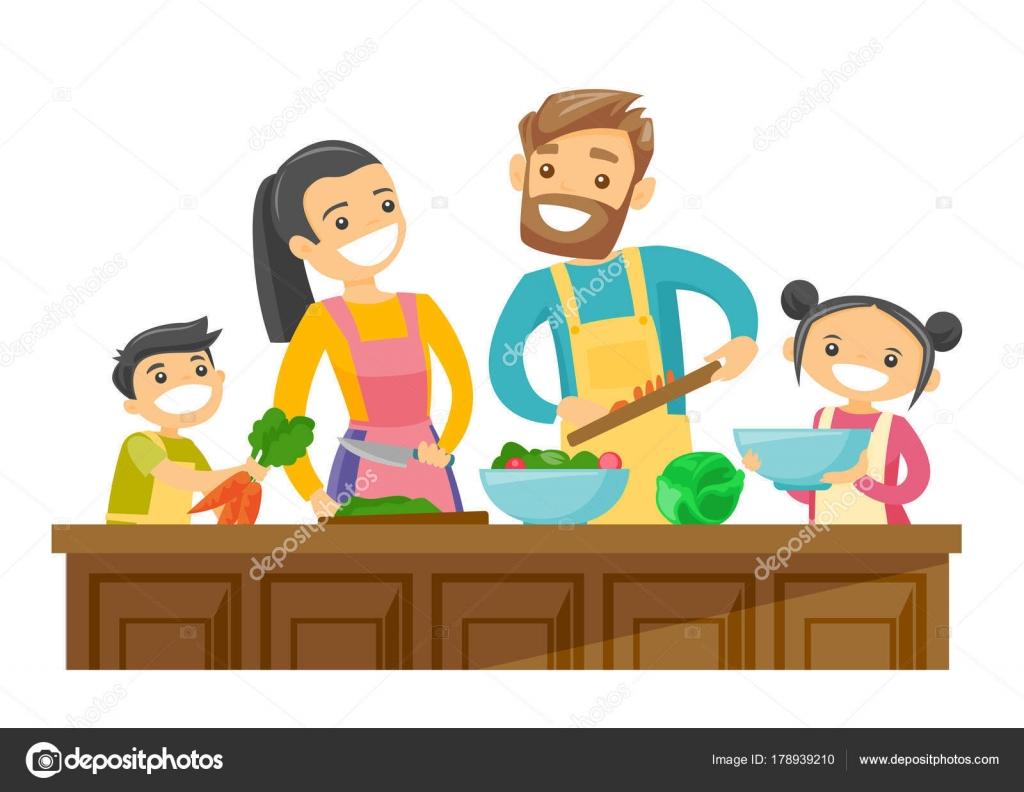 Dibujos Padres Cocinando Padres Blancos Caucásicos Con Niños