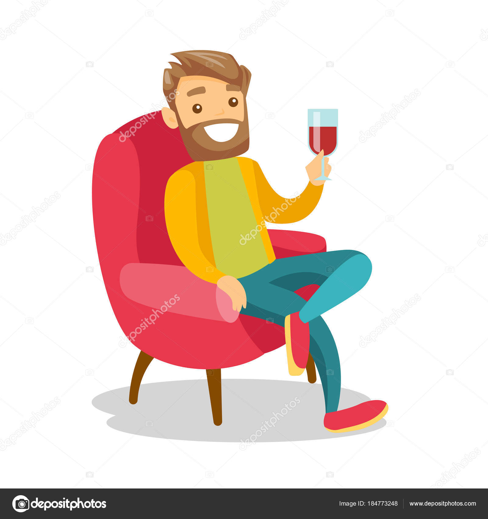 Kaukasische Weißer Wein Zu Trinken Auf Dem Stuhl Stockvektor