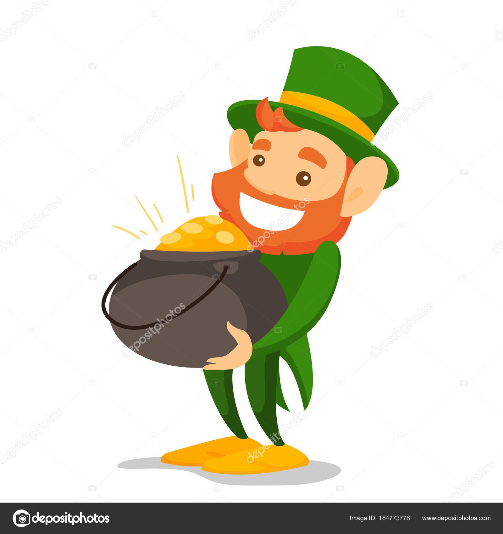 leprechaun in green costume holding pot of gold stock vector