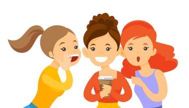 Young caucasian white women sharing gossips.