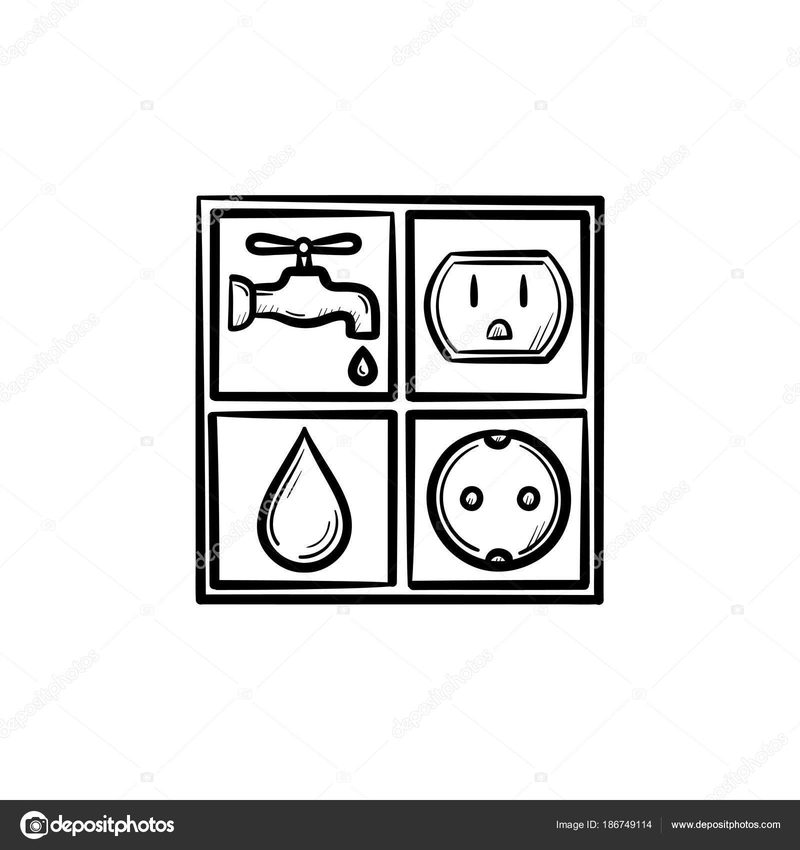 Electricity and water signs hand drawn sketch icon — Stock Vector ...
