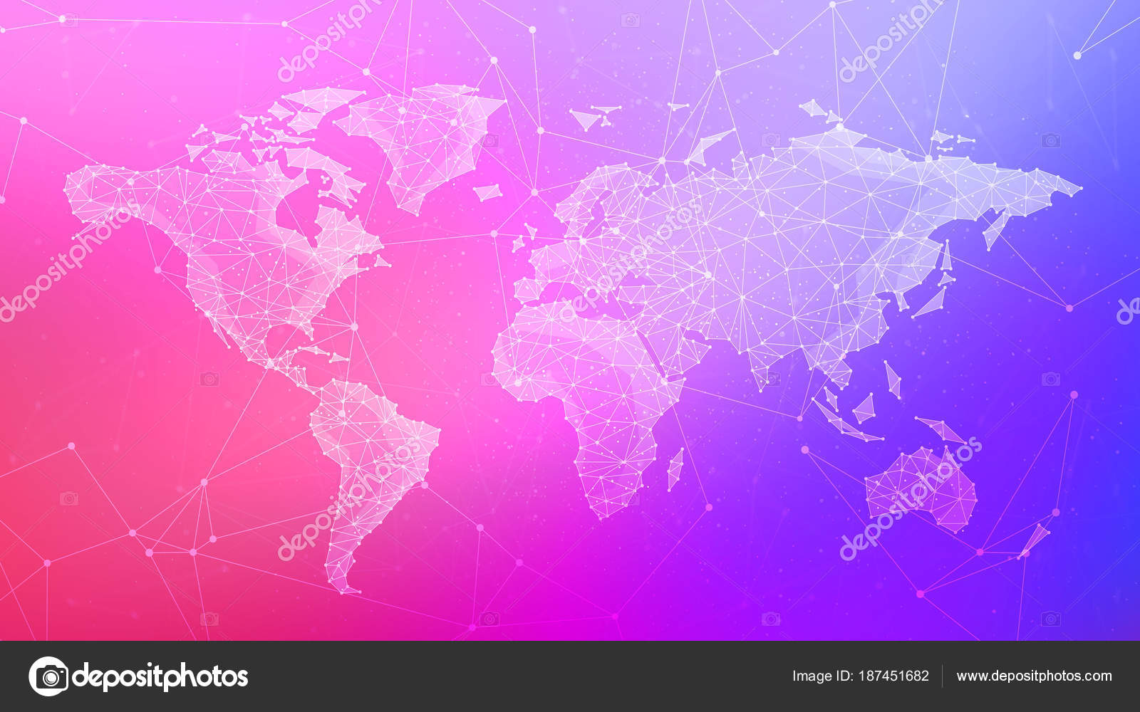 Polygon world map on multicolored background — Stock Photo