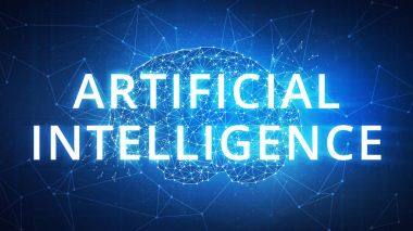 Blockchain technology artificial intelligence and cyber space concept.