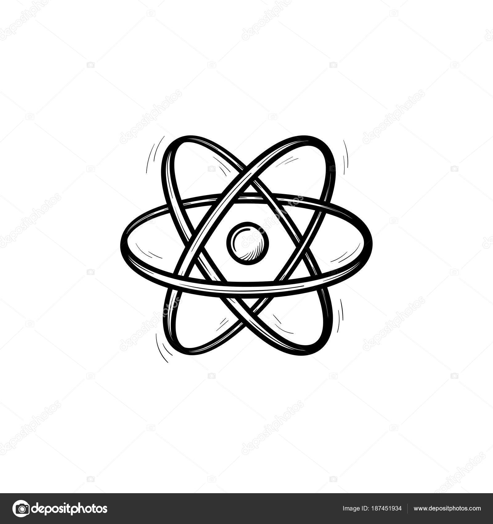 Elektronische Atom Handsymbol gezeichnete Skizze — Stockvektor ...
