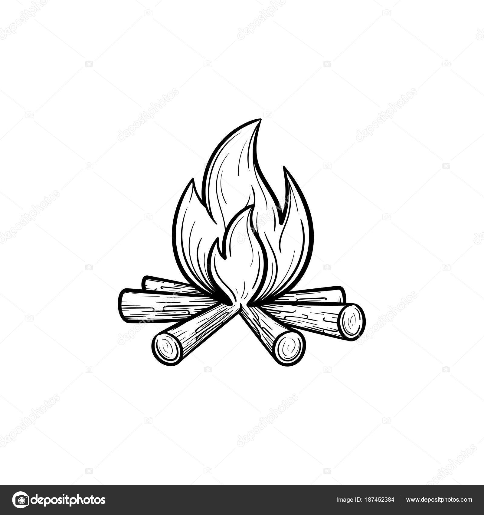 Campfire Hand Drawn Outline Doodle Icon Fireplace Vector Sketch Illustration For Print Web Mobile And Infographics Isolated On White Background