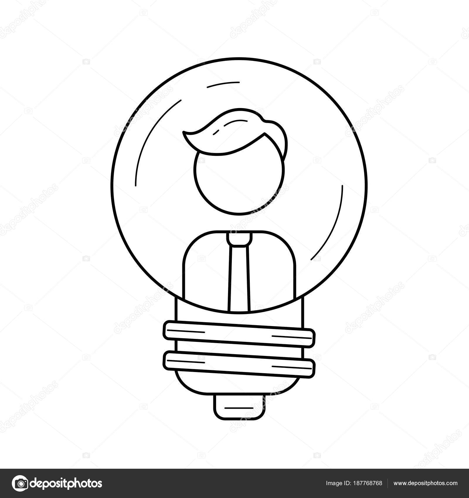 businessman inside a light bulb vector line icon stock vector