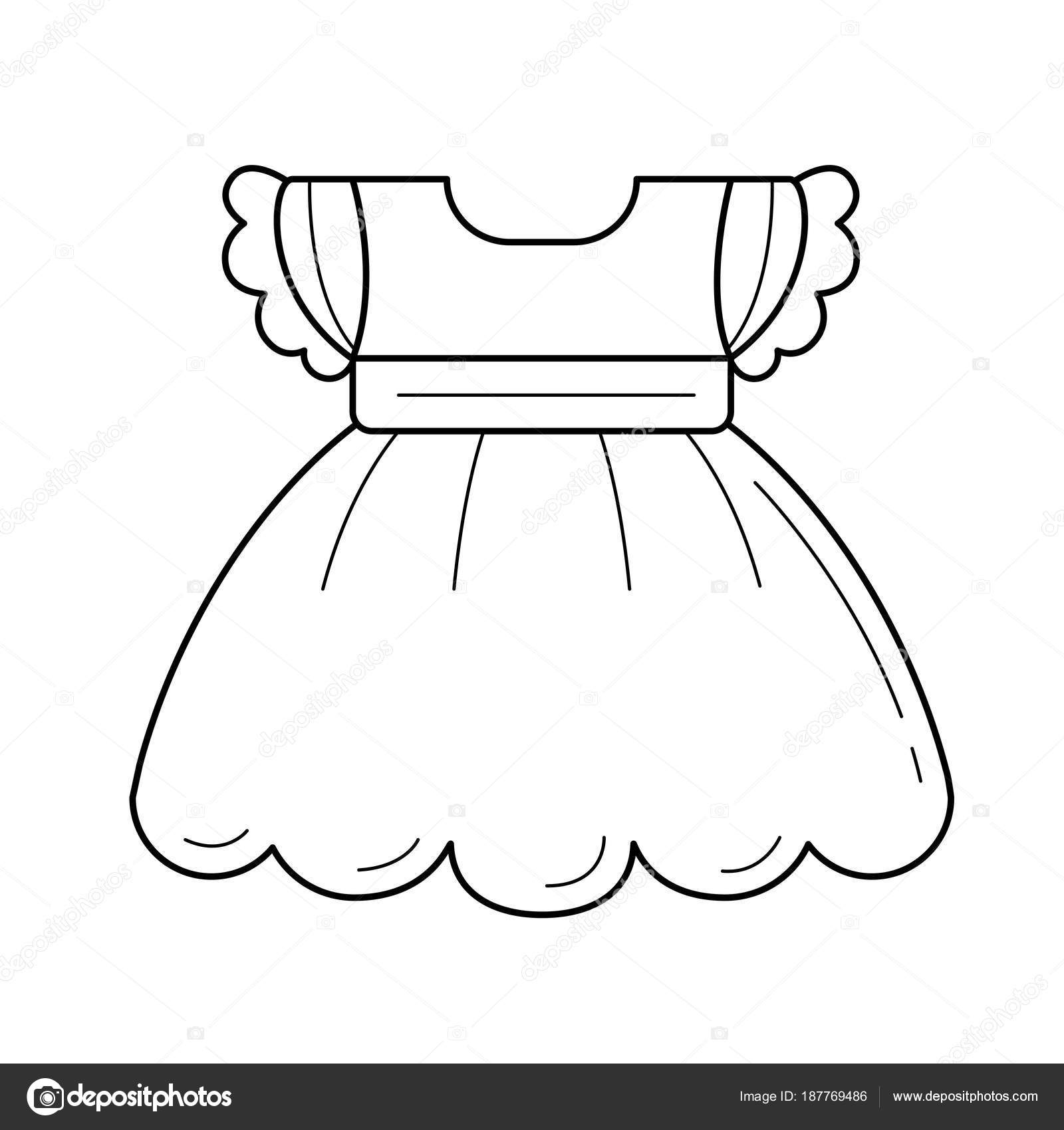 57e04008465b Child dress vector line icon isolated on white background. Dress for little  baby girl line icon for infographic