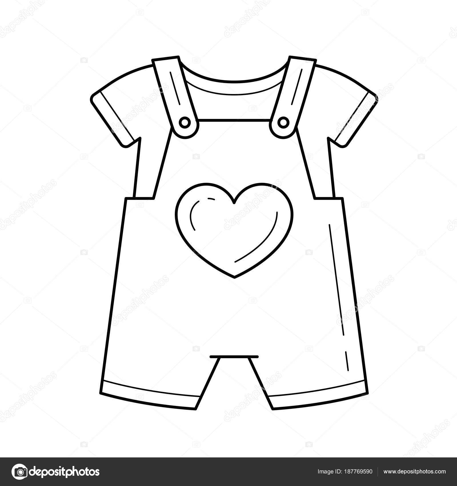 Baby romper vector line icon — Stock Vector © rastudio