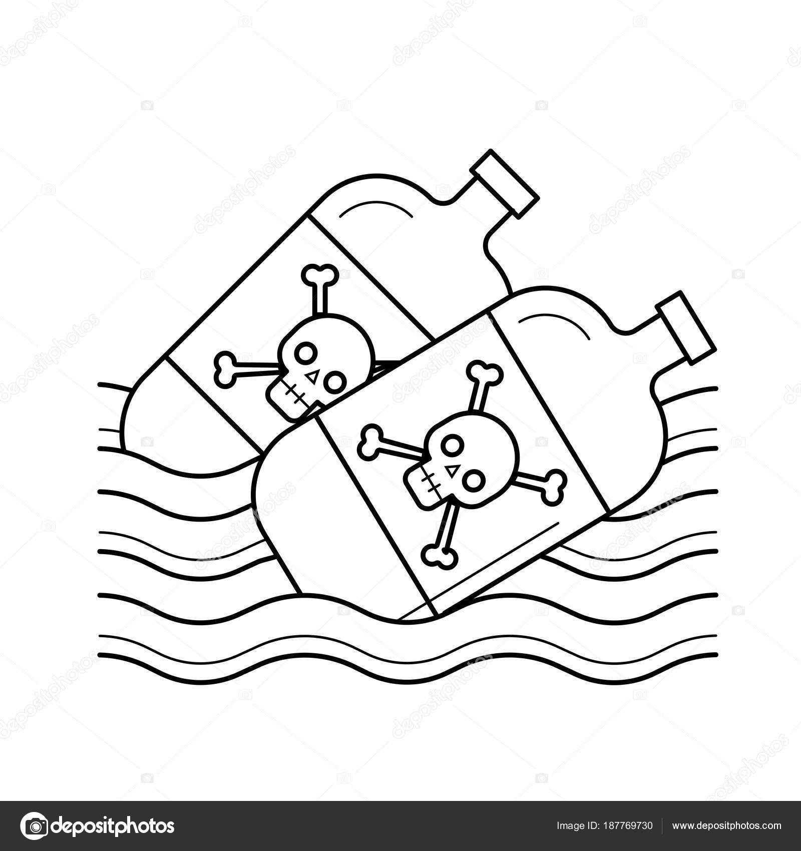 Dibujos La Contaminacion Del Agua Icono De Línea De