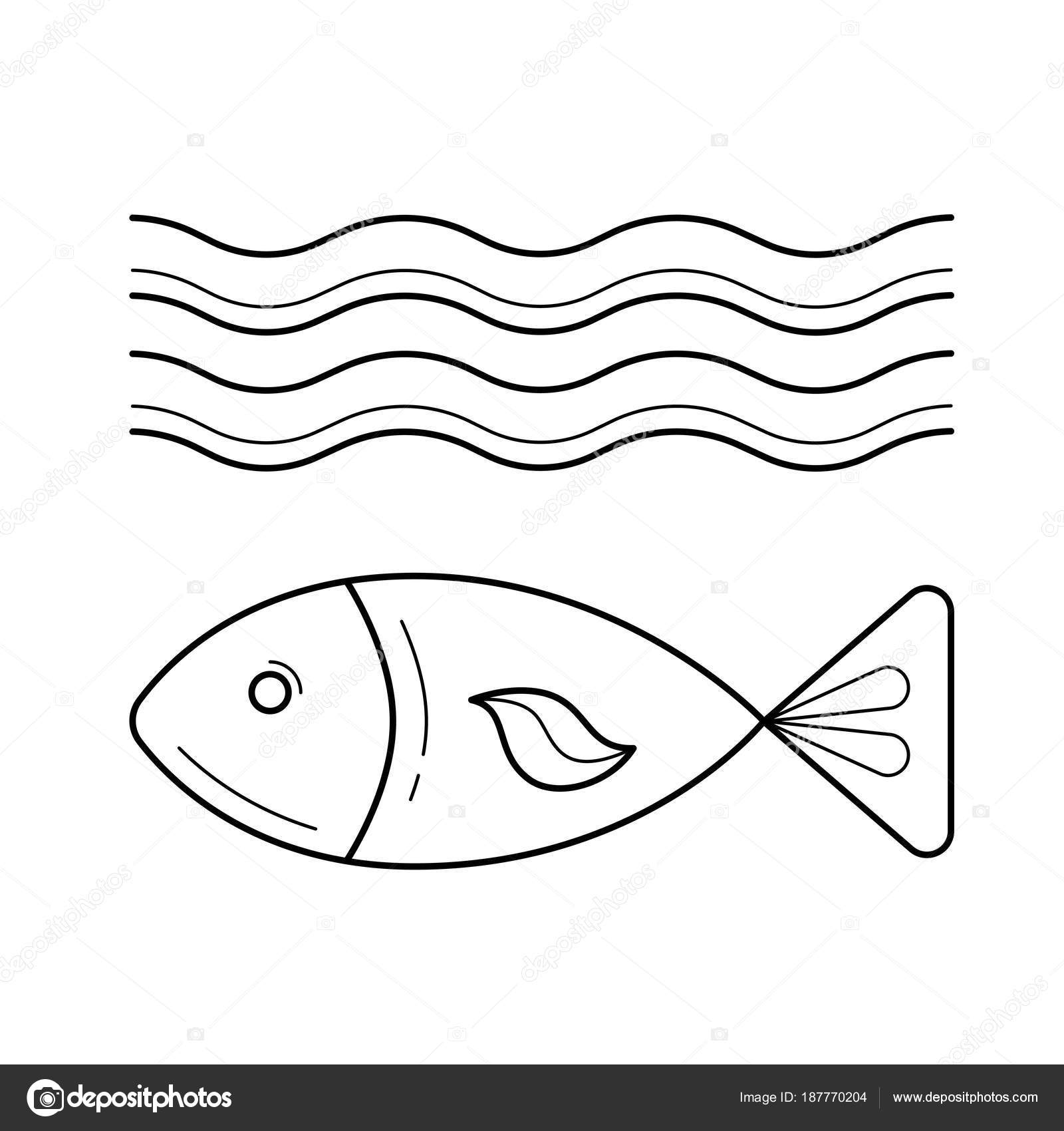 Das Fischen Sie unter Meer Welle Vektor Liniensymbol — Stockvektor ...