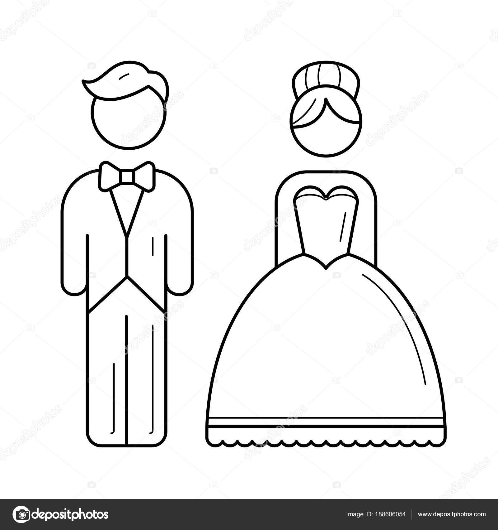 1311c72be3 Novia y el novio vector línea icono aislado sobre fondo blanco. Icono de  línea de matrimonio para infografía