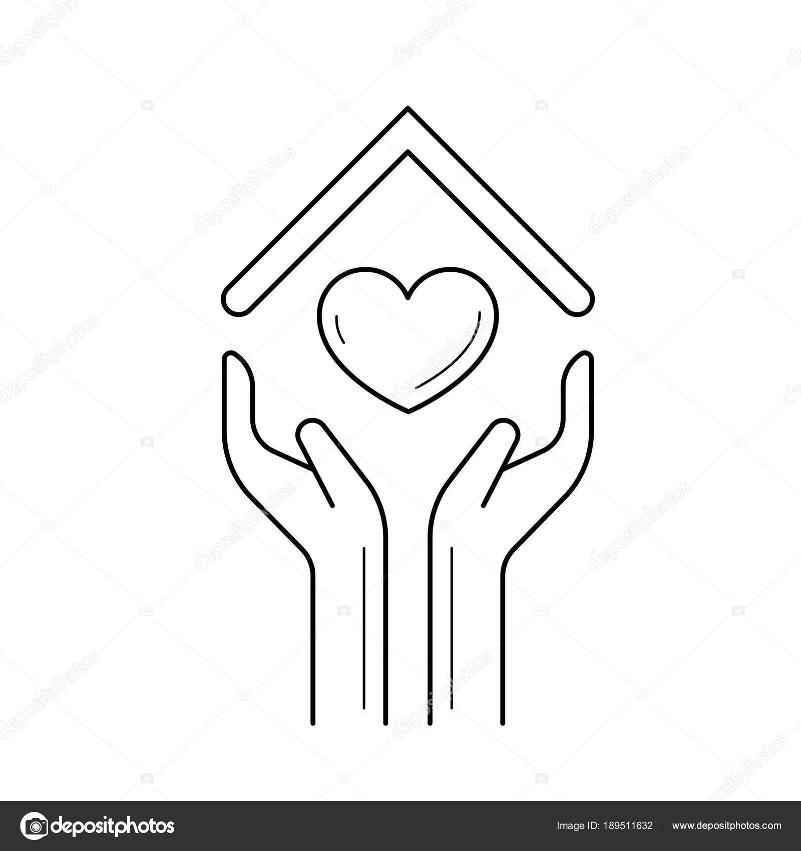 Hande Halten Haus Symbol Mit Herz Linie Symbol Stockvektor