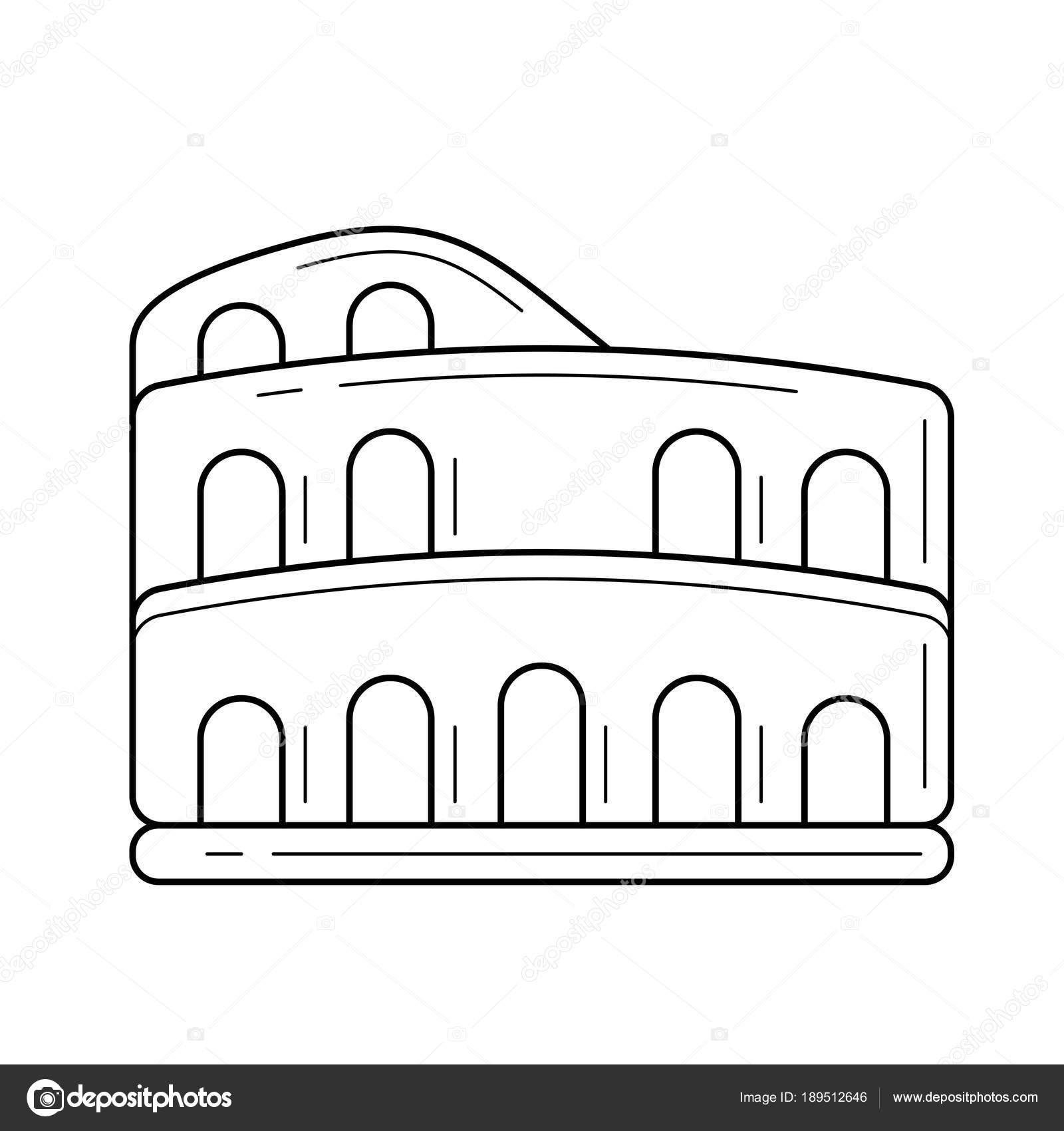 Dibujo Del Coliseo Romano Para Imprimir Icono De Línea De Coliseo