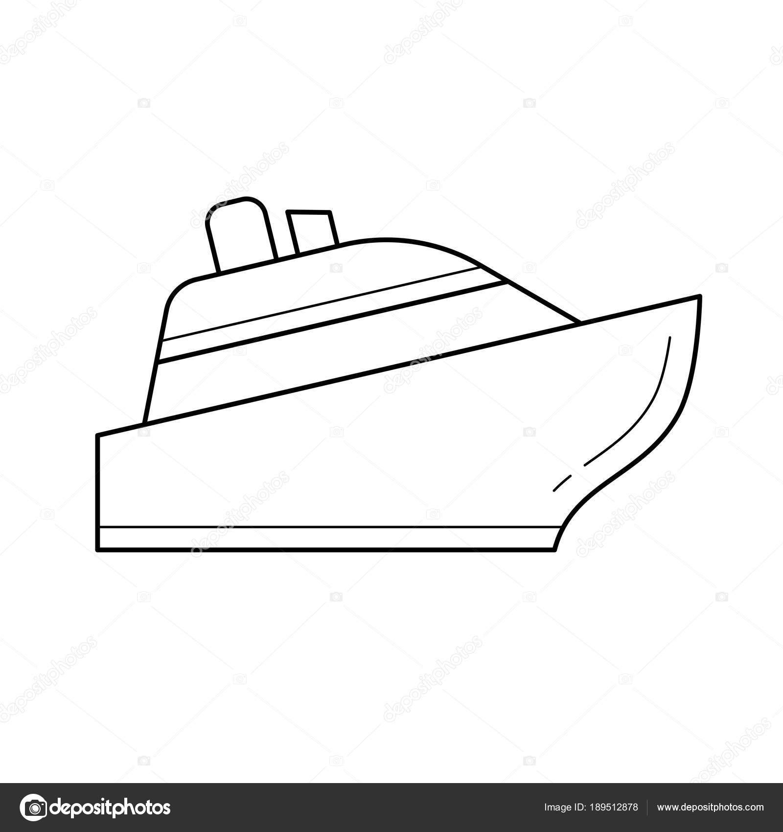 Icono de línea de barco crucero — Vector de stock © rastudio #189512878