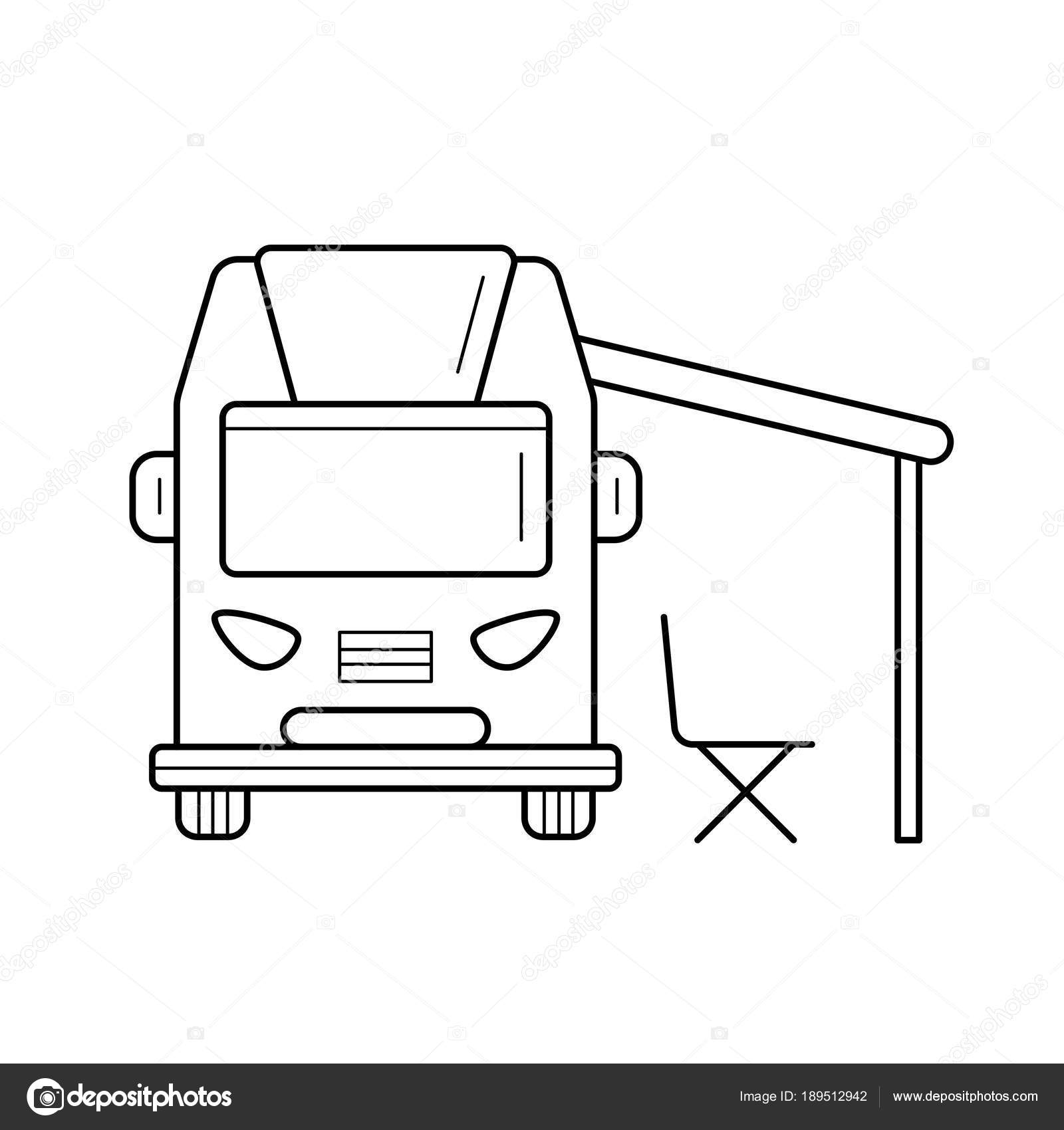 RV Camping Motorhome Line Icon Stock Vector