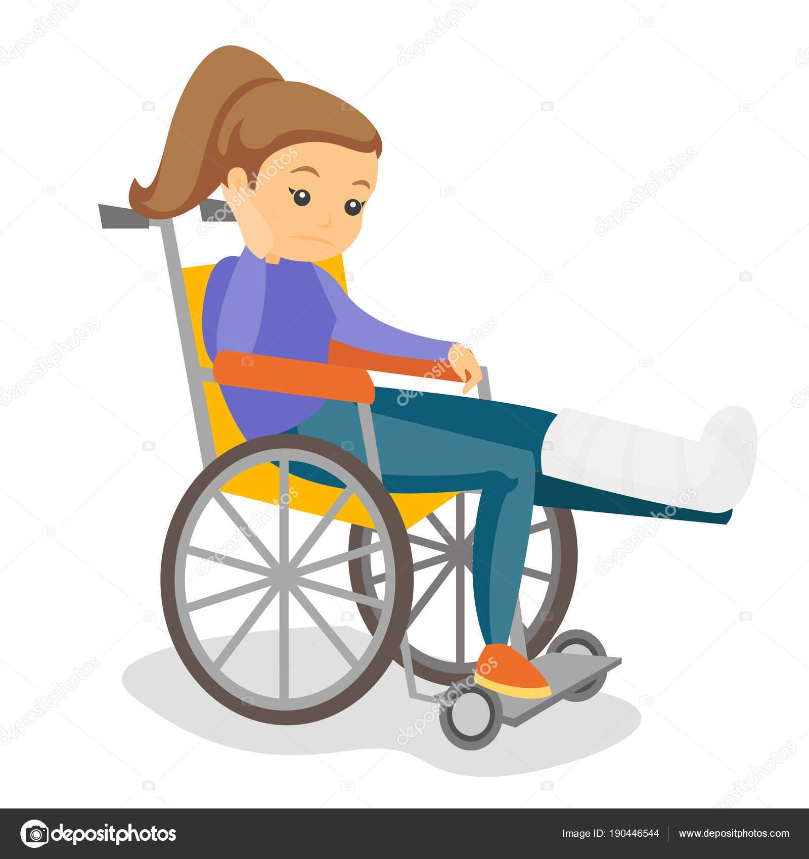 Mujer con pierna rota en silla de ruedas vector de stock rastudio 190446544 - Tamano silla de ruedas ...