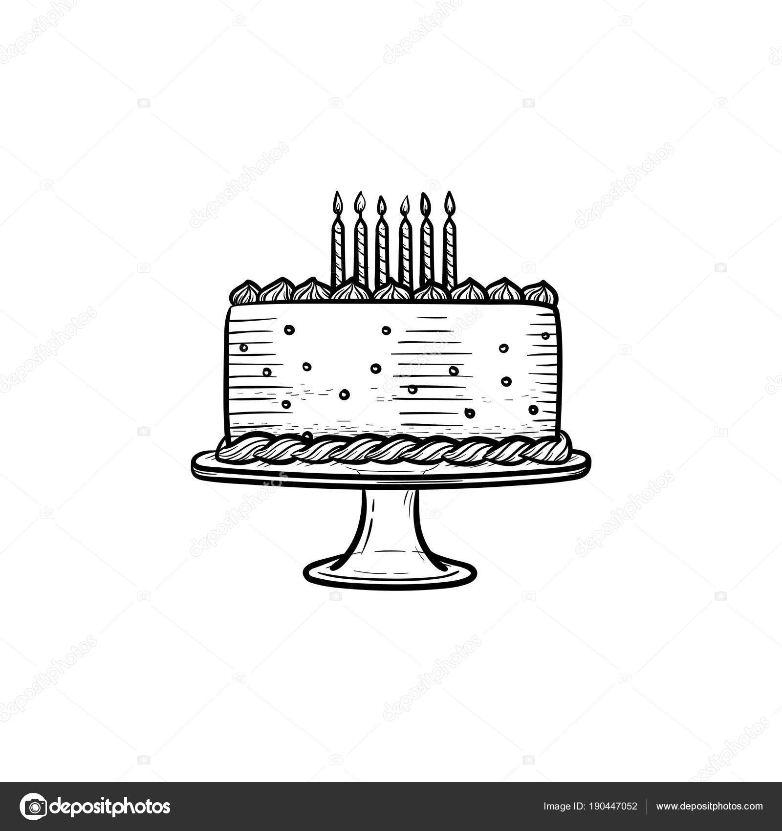 Birthday Cake Hand Drawn Sketch Icon Stock Vector C Rastudio
