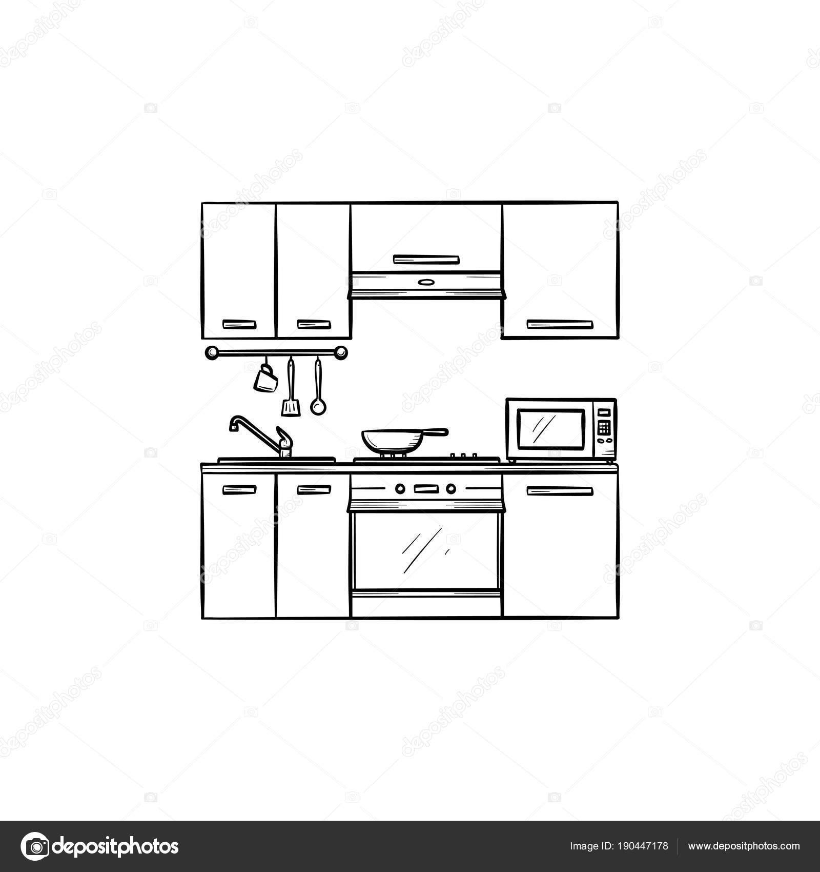 Küche Interieur Handsymbol gezeichnete Skizze — Stockvektor ...