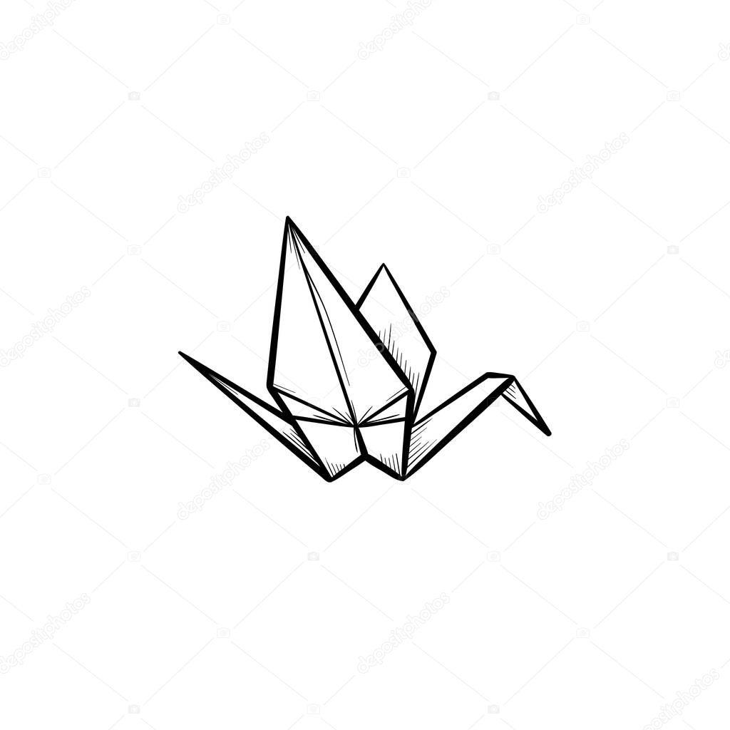 Origami Kranich Handsymbol gezeichnete Skizze ...