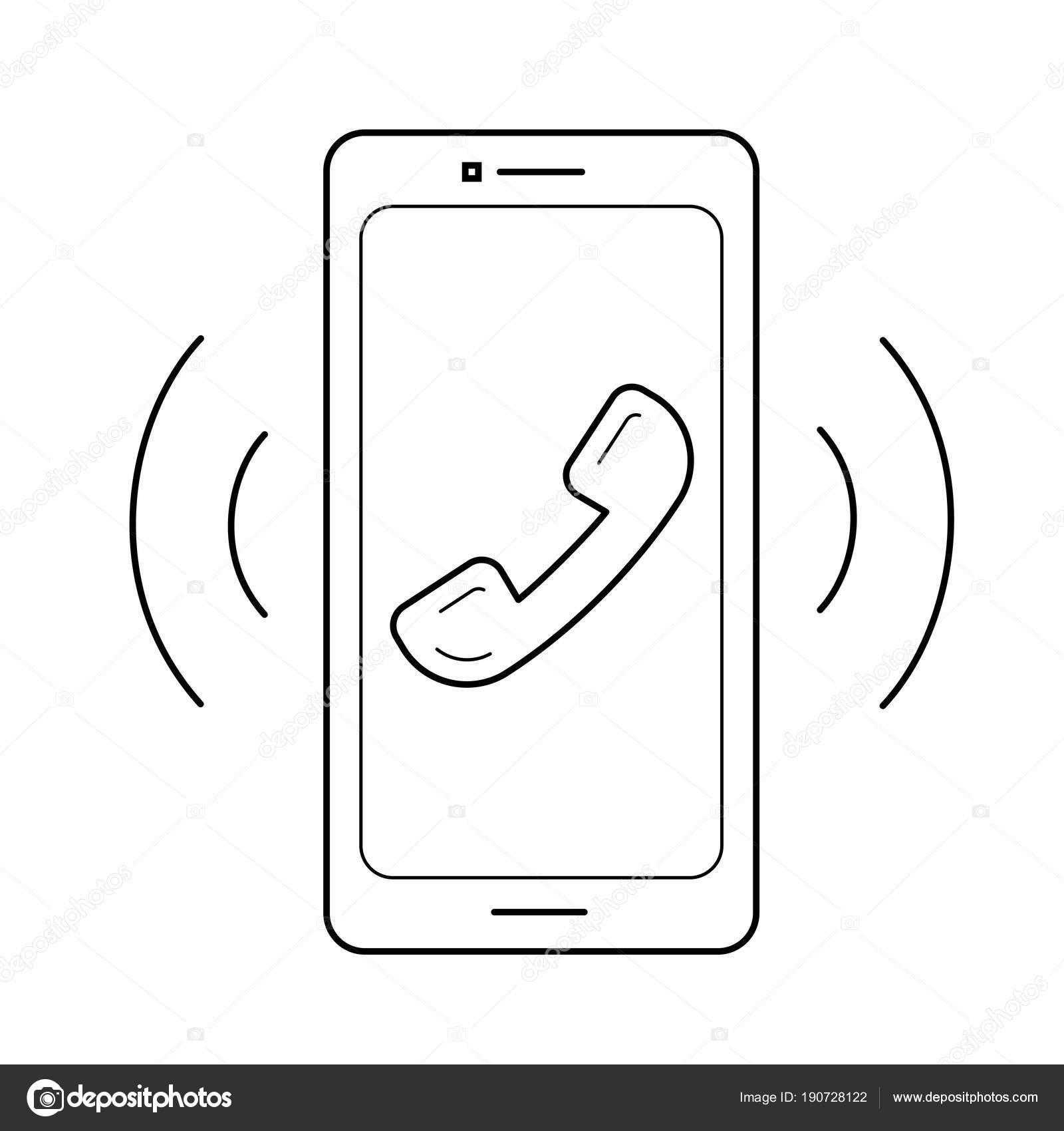 Smart phone with vibration and sound line icon. — Stock Vector ...