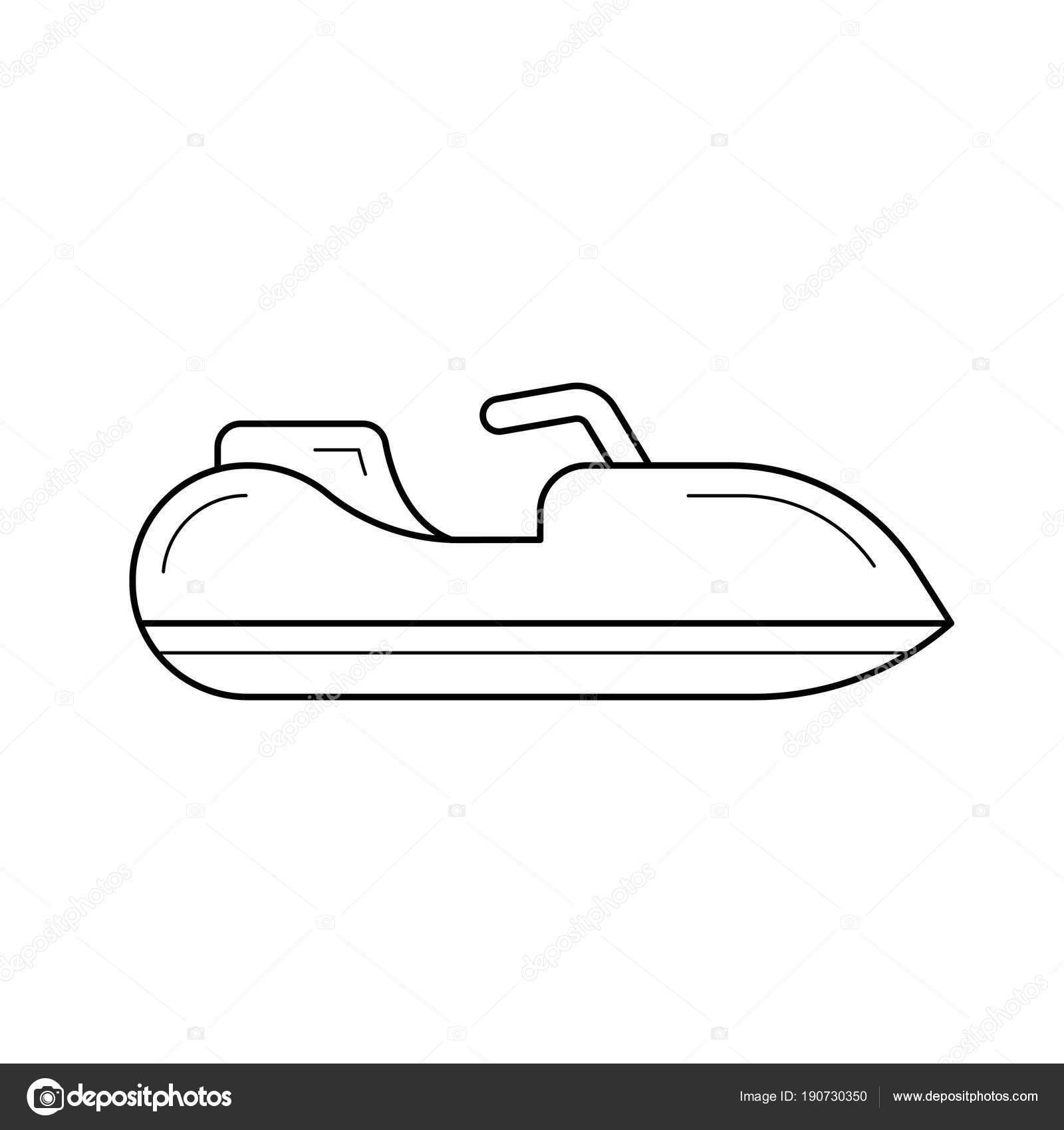 Jet Ski Line Icon Stock Vector Rastudio 190730350
