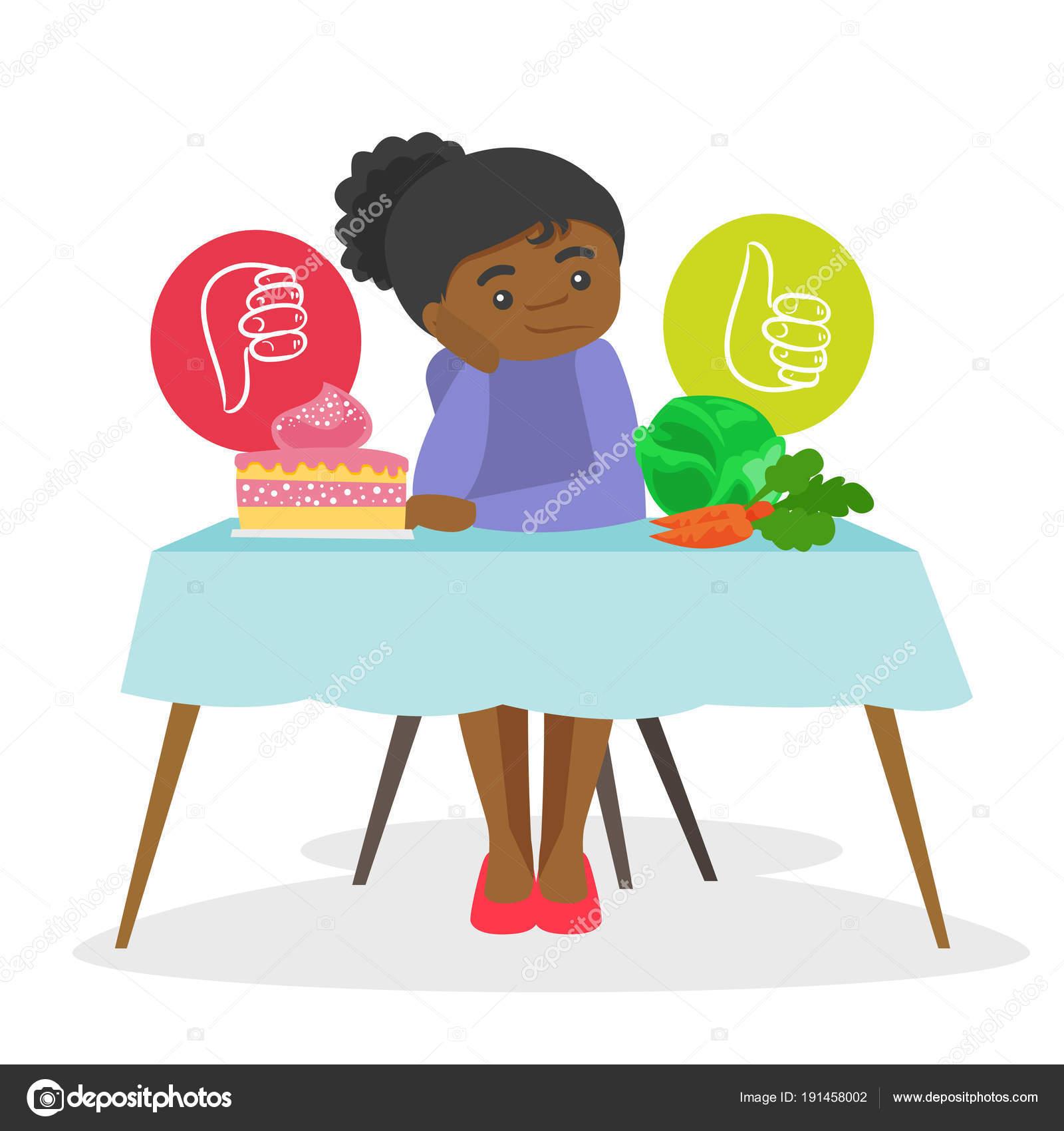 c363367f7f08 Αφρικανικός-αμερικανική γυναίκα που κάθεται στο τραπέζι και επιλέγοντας  ανάμεσα σε λαχανικά και των κέικ. Επιλογή μεταξύ των υγιών και μη υγιών  διατροφή ...