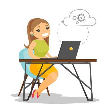 Bulut teknolojileri bilgisayar kullanarak iş kadını.