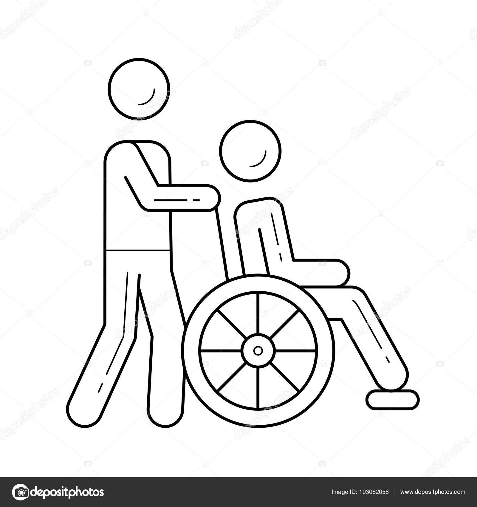 Dibujos Discapacitados Para Colorear Icono De La Línea De