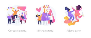 Office celebration, anniversary congratulations, girlfriends sleepover icons set. Corporate party, birthday party, pajama party metaphors. Vector isolated concept metaphor illustrations icon