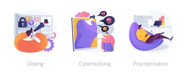 Online privacy violation, internet harassment problem, task delay and laziness icons set. Doxing, cyberbullying, procrastination metaphors. Vector isolated concept metaphor illustrations icon