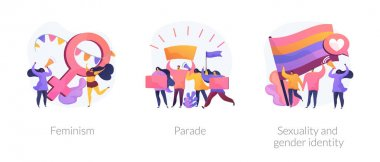 Women empowerment movement, gay pride demonstration, asserting rights icons set. Feminism, parade, sexuality and gender identity metaphors. Vector isolated concept metaphor illustrations icon