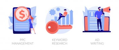 Content marketing and SEO copywriting flat icons set. Internet advertising and blogging. PPC management, Keyword research, Ad writing metaphors. Vector isolated concept metaphor illustrations icon