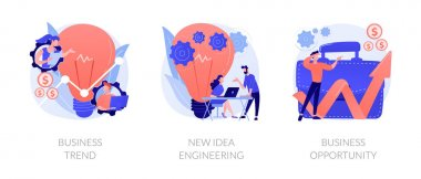 Professional marketing research, team collaboration, solutions search icons set. Business trend, design thinking, business opportunity metaphors. Vector isolated concept metaphor illustrations icon