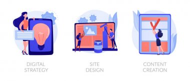 Creative writing, web development and mobile advertising flat icons set. Outbound marketing. Digital strategy, site design, content creation metaphors. Vector isolated concept metaphor illustrations icon