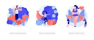 Healthy vegan lifestyle, natural and organic nutrition, self acceptance icons set. Vegetarianism, raw veganism, body positive metaphors. Vector isolated concept metaphor illustrations icon