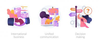 Business communication and collaboration, teamwork, partnership. International business, unified communication, decision making metaphors. Vector isolated concept metaphor illustrations. icon