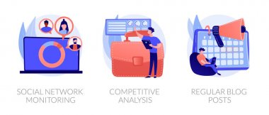 Business analytics, digital marketing icons set. Online promotion service. Social network monitoring, competitive analysis, regular blog posts metaphors. Vector isolated concept metaphor illustrations icon