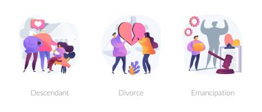 Society issues metaphors. Descendant, divorce, emancipation. Marriage annulment, social rights, gender equality. Wife and husband break up abstract concept vector illustration set. icon